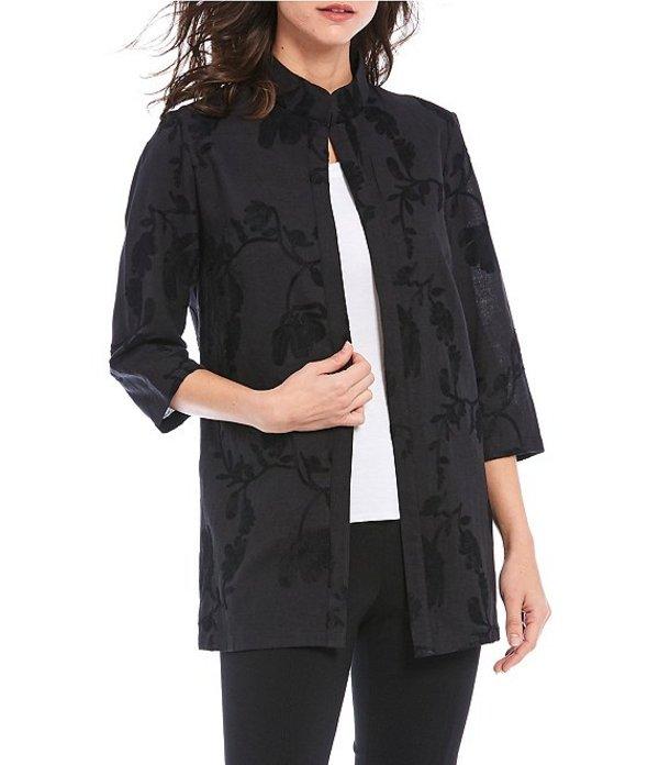 ミソック レディース ジャケット・ブルゾン アウター 3/4 Sleeve Embroidered Floral Linen Jacket Black
