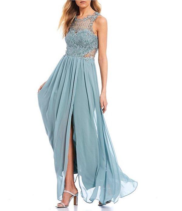 シティヴァイブ レディース ワンピース トップス Lace Bodice Crochet Inset Side Slit Long Dress Dusty Sage