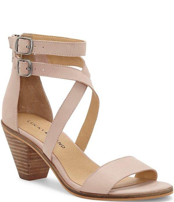 ラッキーブランド レディース サンダル シューズ Ressia Leather Cone Heel Sandals Adobe Rose