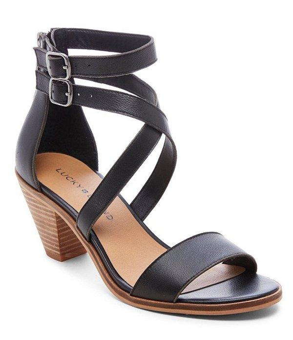ラッキーブランド レディース サンダル シューズ Ressia Leather Cone Heel Sandals Black