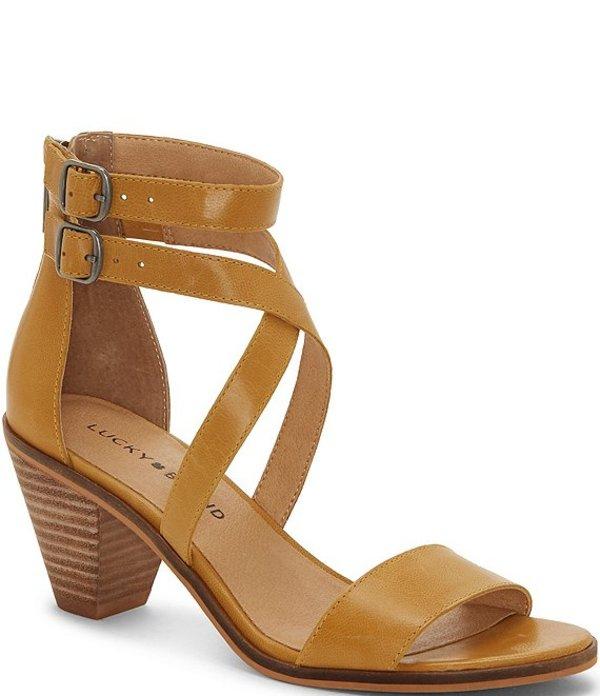 ラッキーブランド レディース サンダル シューズ Ressia Leather Cone Heel Sandals Golden Yellow