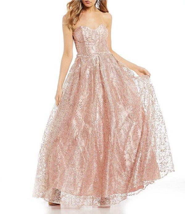 ジービー レディース ワンピース トップス Social Strapless Glitter-Pattern Ballgown Blush