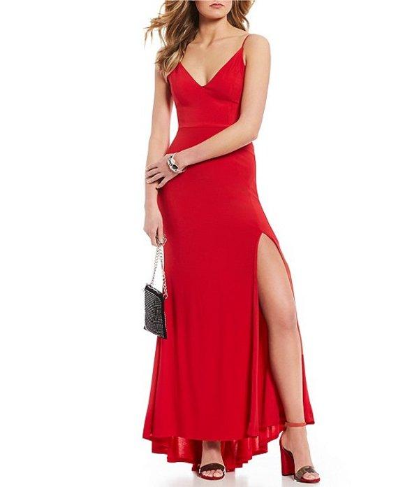 ジャンプ レディース ワンピース トップス V-Neck Strappy Side Long Dress Red