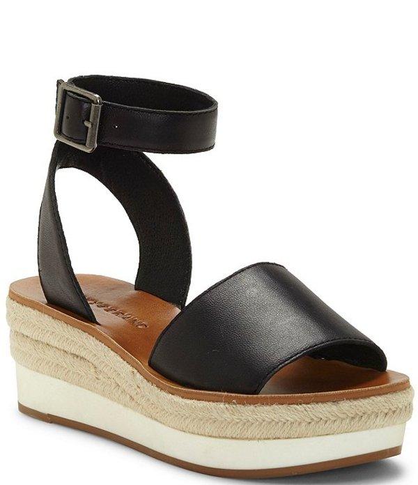 ラッキーブランド レディース サンダル シューズ Joodith Leather Espdarille Wedge Sandals Black