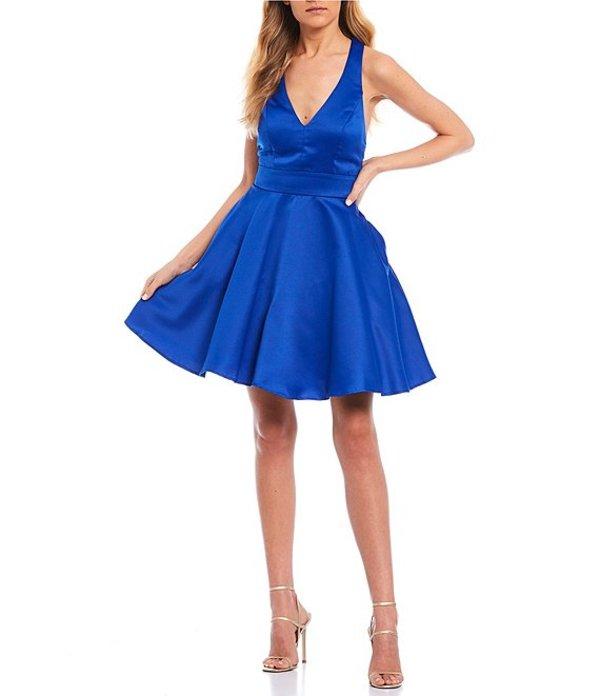 シティヴァイブ レディース ワンピース トップス Bow-Back Satin Fit-and-Flare Dress Bright Cobalt Blue