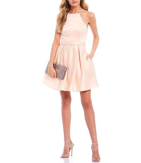 シティヴァイブ レディース ワンピース トップス Sleeveless Halter Neck Satin Fit-and-Flare Dress Peach