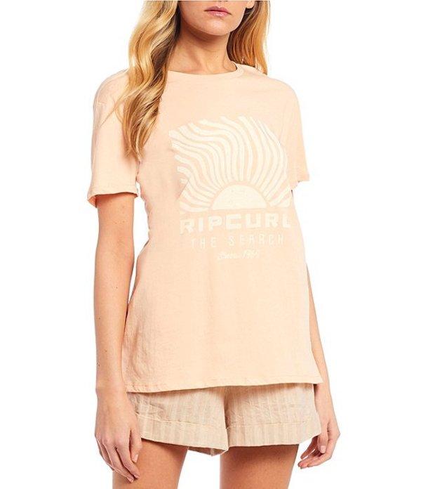 リップカール レディース Tシャツ トップス Sun Search Short Sleeve Boy Graphic Tee Peach