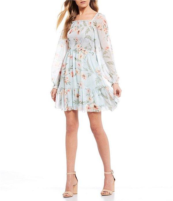 タカラ レディース ワンピース トップス Smocked Bodice Floral Print Dress Light Blue/Multi