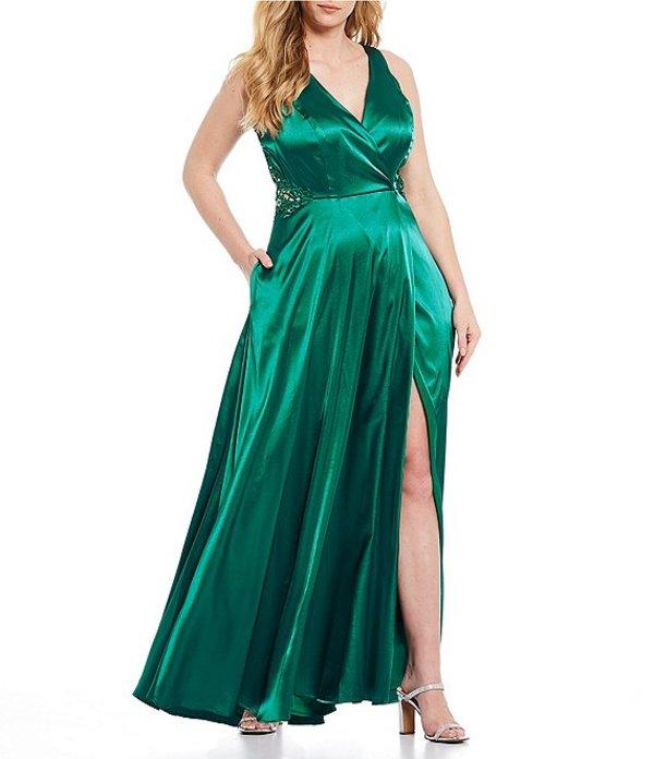 シティヴァイブ レディース ワンピース トップス Plus Embroidered High Side Slit Satin Wrap Long Dress Emerald