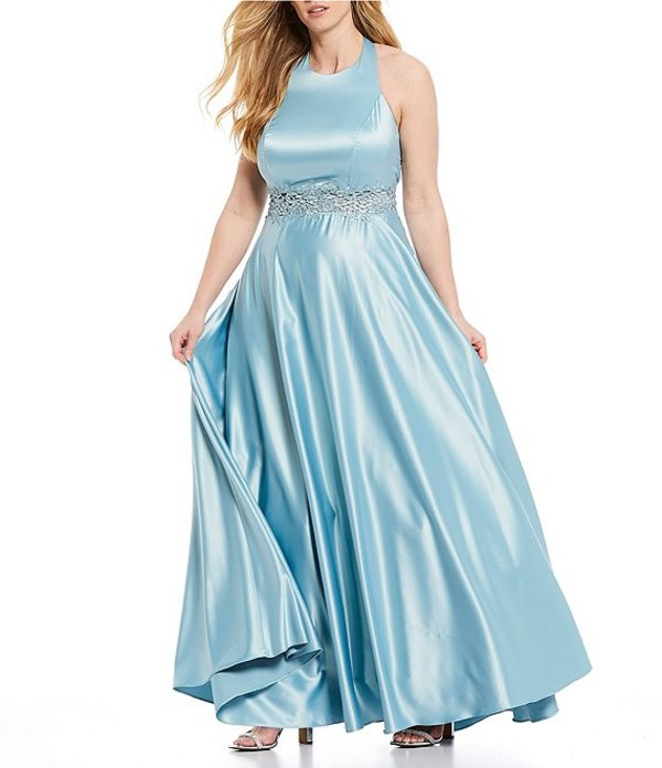 シティヴァイブ レディース ワンピース トップス Plus Sleeveless Round-Neck Embroidered Waist Satin Ballgown Sea Blue
