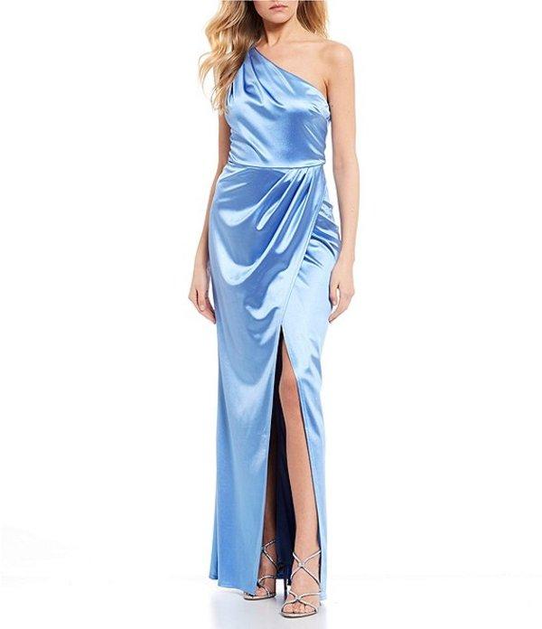 シティヴァイブ レディース ワンピース トップス Sleeveless One-Shoulder Side Slit Pleated Drape Satin Knit Long Dress Chambray