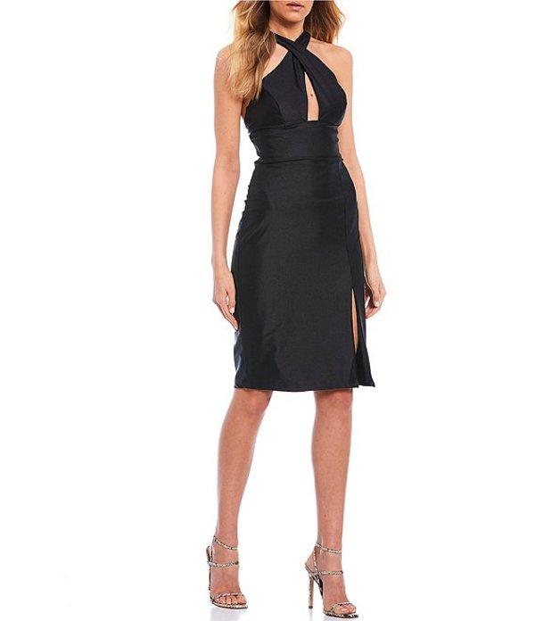 シティヴァイブ レディース ハーフパンツ・ショーツ ボトムス Sleeveless X-Neck Stretch Satin Sheath Dress Black
