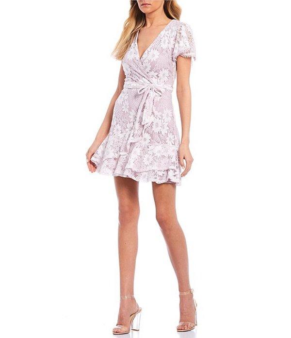 シティヴァイブ レディース ワンピース トップス Flutter Short Sleeve Lace Tie-Front Faux-Wrap Dress Lilac/Ivory