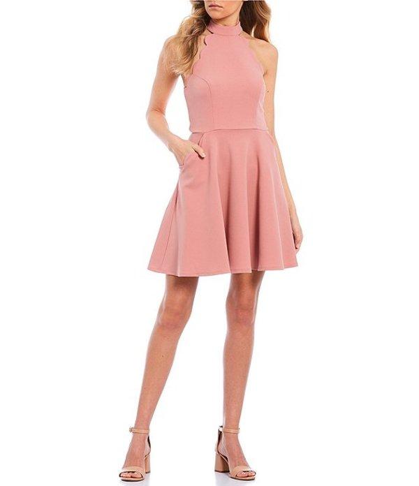 シティヴァイブ レディース ワンピース トップス Sleeveless Mock-Neck Scalloped Fit-and-Flare Dress Blossom