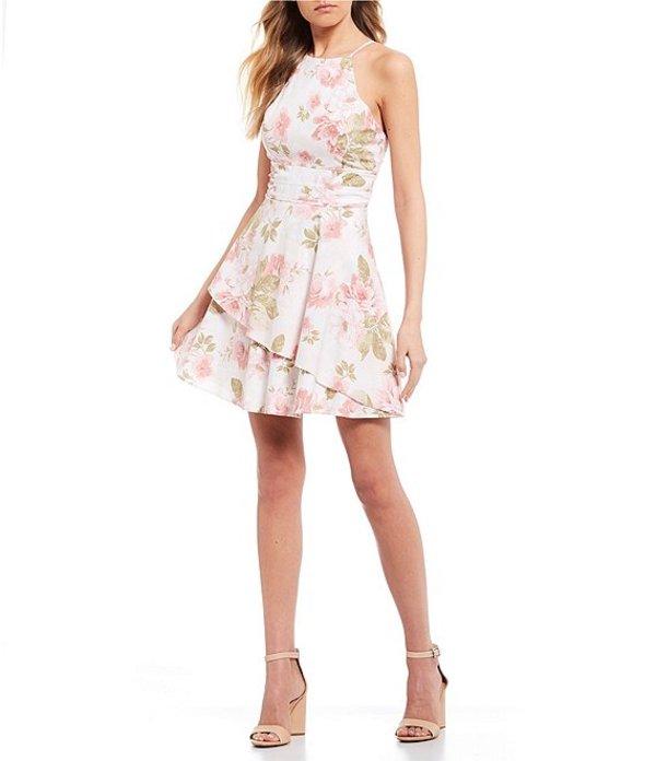 シティヴァイブ レディース ワンピース トップス Sleeveless Triple Banded Waist Floral Print Fit-and-Flare Dress Ivory/Olive/Pink