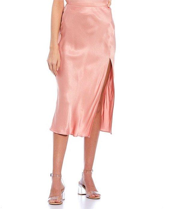 ジービー レディース スカート ボトムス Side Slit Coordinating Satin Midi Skirt Rose