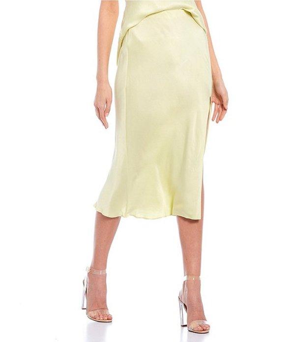 ジービー レディース スカート ボトムス Side Slit Coordinating Satin Midi Skirt Yellow