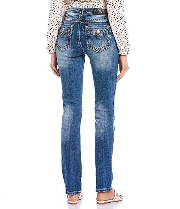 ミスミー レディース デニムパンツ ボトムス Mid Rise Two Tone Border Stitch Straight Jeans Dark Blue