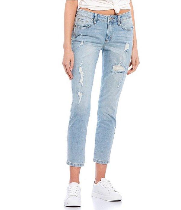 ミスミー レディース デニムパンツ ボトムス Destructed Mid Rise Ankle Skinny Jeans Light Blue