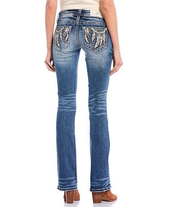 ミスミー レディース デニムパンツ ボトムス Low Rise Dream Catcher Embellished Pocket Bootcut Jeans Dark Blue