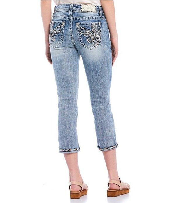 ミスミー レディース ハーフパンツ・ショーツ ボトムス Fleur-De-Lis Wing Embellished Pocket Capri Jeans Light Blue