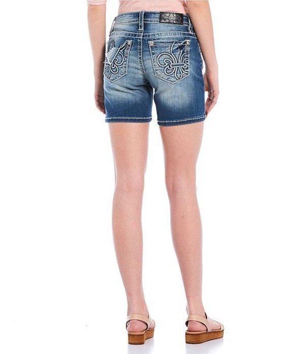 ミスミー レディース ハーフパンツ・ショーツ ボトムス Mid Rise Fleur-De-Lis Pocket Distressed Shorts Dark Blue
