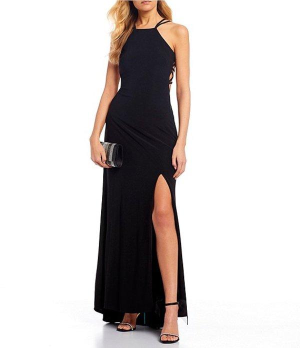 モルガン レディース ワンピース トップス Sleeveless Halter-Neck Strappy Cage-Back Side Slit Long Dress Black