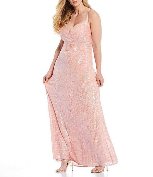 モルガン レディース ワンピース トップス Plus Spaghetti Strap Plunging V-Neck Sequin Long Dress Pink