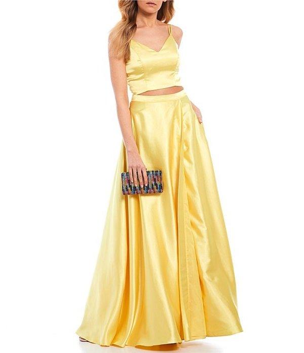 ミッドナイト ドール レディース ワンピース トップス Spaghetti Strap Satin Two-Piece Long Dress Yellow