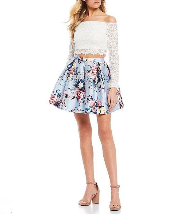 ティーズミー レディース ワンピース トップス Off-the-Shoulder Long Sleeve Lace Top with Floral Print Skirt Two-Piece White/Blue