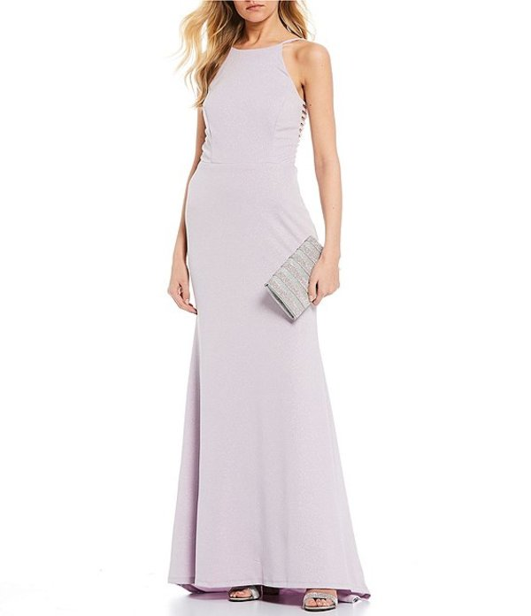 ジャンプ レディース ワンピース トップス High Neck Glitter Scuba Long Dress Lavender