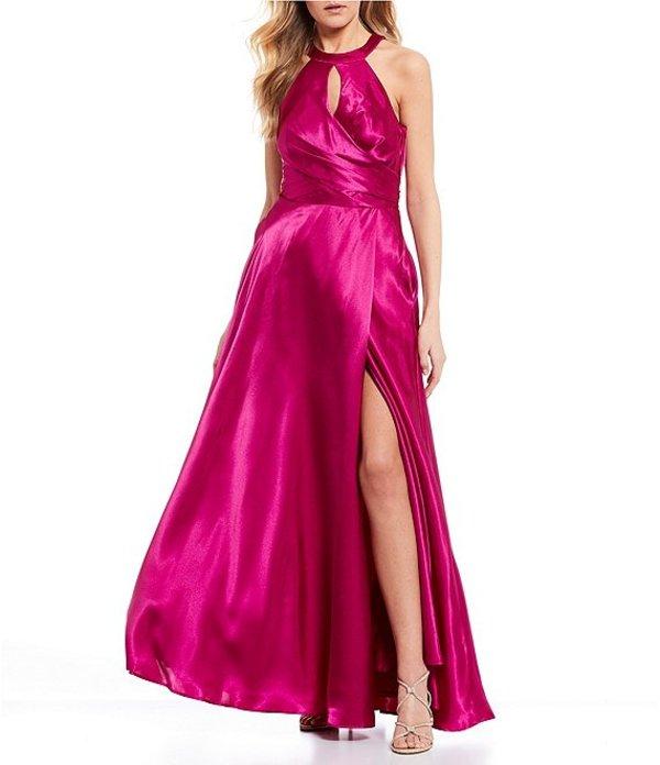 モルガン レディース ワンピース トップス Keyhole Neckline High Side Slit Bow Back Long Dress Cerise