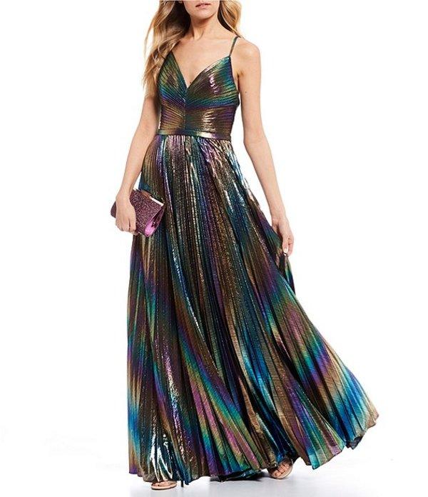 ジービー レディース ワンピース トップス Social Iridescent Pleated Long Dress Metallic