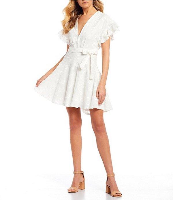 ジービー レディース ワンピース トップス Tie Waist Floral Embroidered Dress White