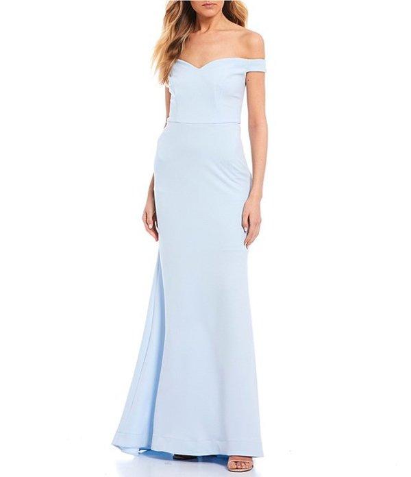 ビーダーリン レディース ワンピース トップス Off-The-Shoulder Scuba Crepe Long Dress Light Blue