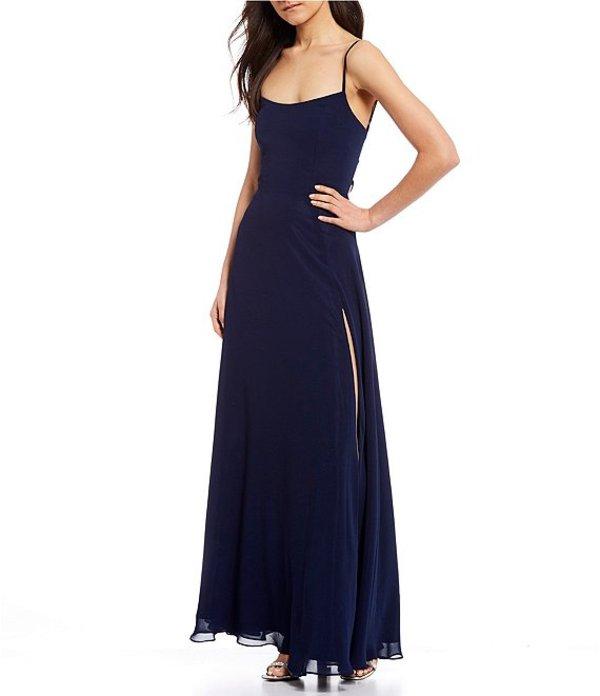 ビーダーリン レディース ワンピース トップス Spaghetti Strap High Side Slit Lace-Up Back Chiffon Long Dress Navy