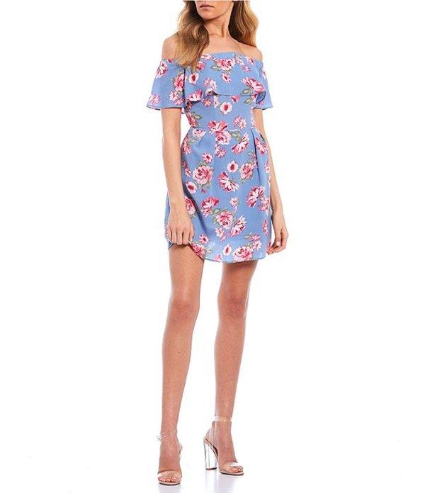ビーダーリン レディース ワンピース トップス Off-The-Shoulder Ruffle Floral Dress Denim/Blush