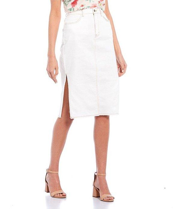 ジービー レディース スカート ボトムス Denim Side Slit Midi Skirt White