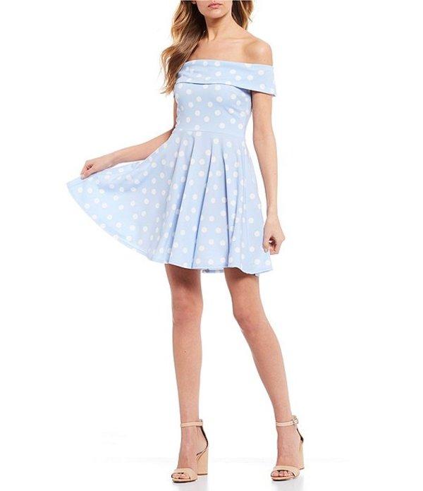 ビーダーリン レディース ワンピース トップス Off-The-Shoulder Polka Dot Skater Dress Light Blue/White