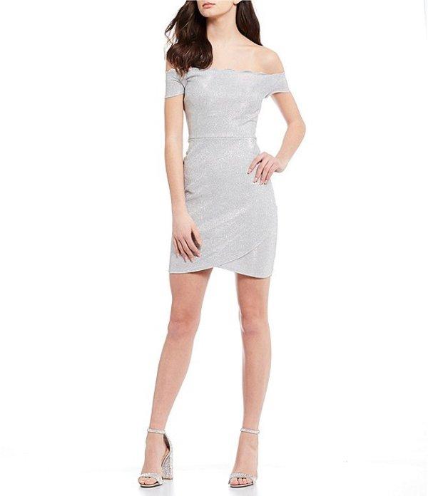 ビーダーリン レディース ワンピース トップス Off-The-Shoulder Scalloped Neck Shine Sheath Dress Silver