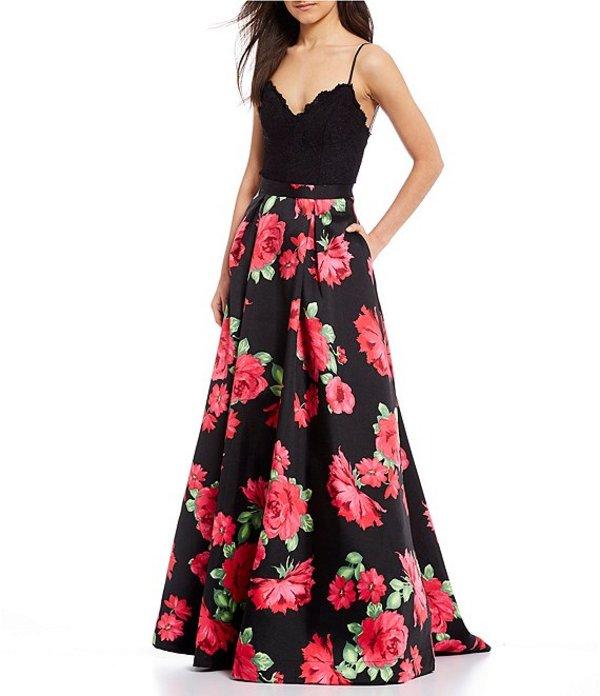 ビーダーリン レディース ワンピース トップス Scalloped Lace Bodice Floral Ballgown Black/Red