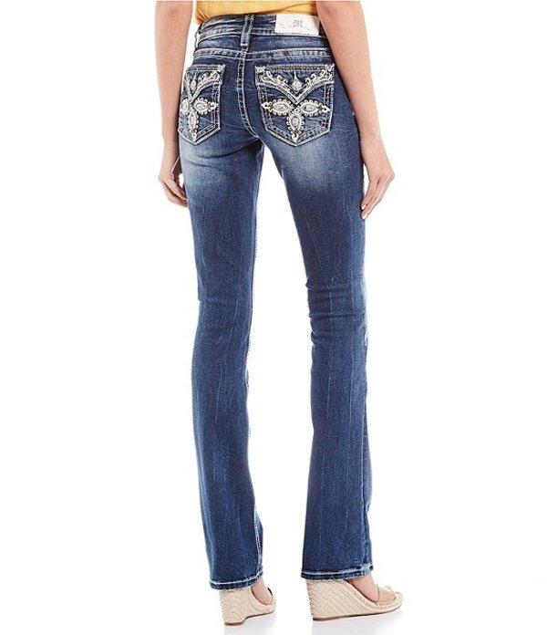ミスミー レディース デニムパンツ ボトムス Embellished Leaf Flap Pocket Slim Bootcut Jeans Medium Blue