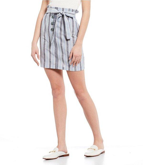 アンジー レディース スカート ボトムス Stripe Button Front Paperbag Waist Skirt Blue