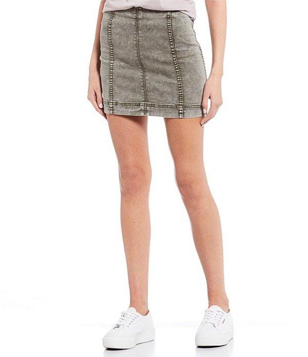 JOLT レディース スカート ボトムス Washed Mid Rise Seamed Mini Skirt Olive