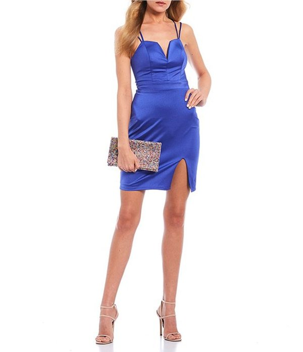 シティヴァイブ レディース ワンピース トップス Spaghetti Strap Lace-Up Back High-Slit Power Sateen Bodycon Dress Royal Blue