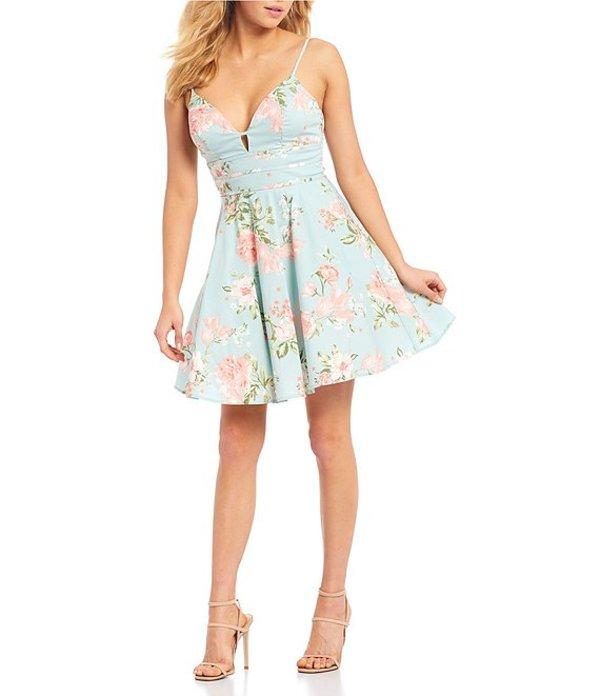シティヴァイブ レディース ワンピース トップス Spaghetti Strap Floral Print Triple-Piped-Waist Fit-and-Flare Dress Mint/Blush