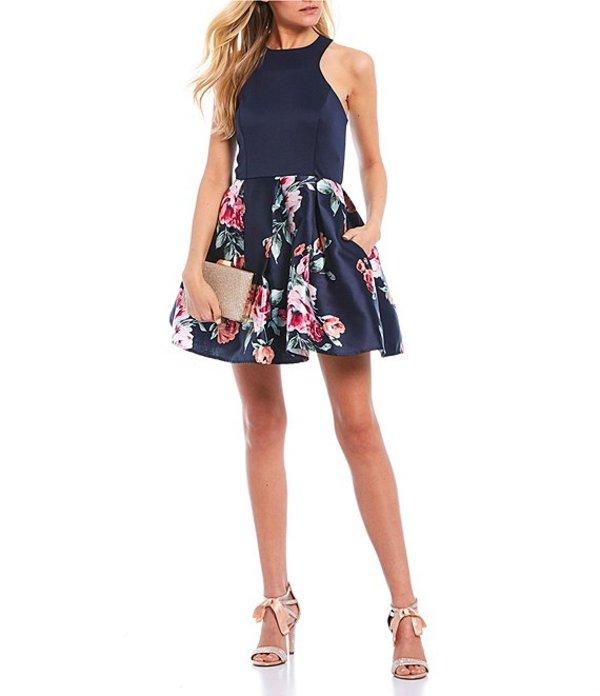 ティーズミー レディース ワンピース トップス Sleeveless Racer-Neck Floral Print Fit and Flare Dress Navy/Pink
