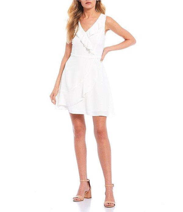 ティーズミー レディース ワンピース トップス Sleeveless V-Neck Ruffled Faux Wrap Dress White