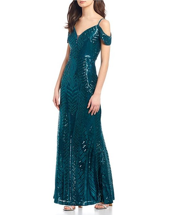 モルガン レディース ワンピース トップス Spaghetti Strap Cold-Shoulder Sequin Pattern Long Dress Emerald