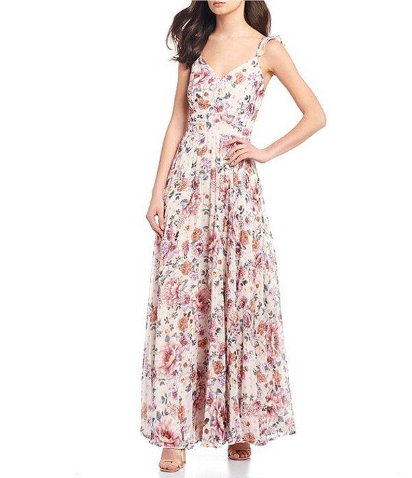 ミッドナイト ドール レディース ワンピース トップス Spaghetti Strap Floral Print Pleated Chiffon Long Dress Mauve/Pink